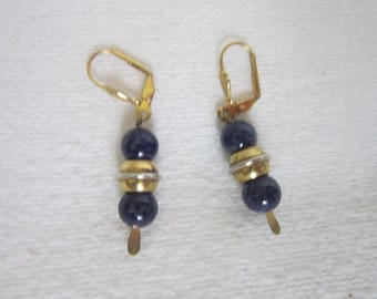 Retro Cobalt Blue Glass & Gold Ball Costume Dangle Pierced Earrings