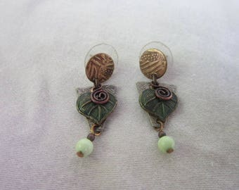 Vintage Retro Silver Copper Brass Dangle Pierced Earrings