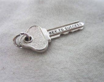 Vintage Wells Sterling Silver Key To Success Charm Bracelet Charm