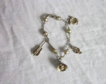 Retro Musical Charm Bracelet 4 Charms