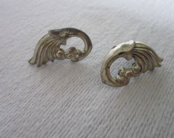 Antique Sterling Silver Flower Flame Screw Back Earrings
