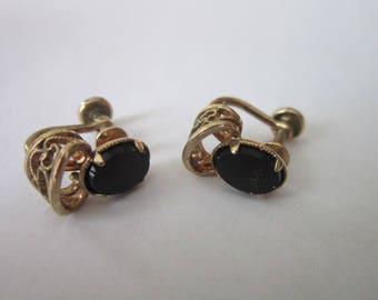 Retro AM Co 14 K Gold Filled & Black Onyx Screw Back Earrings