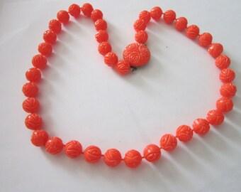Antique Retro 1960's Hard Plastic Bright Orange Necklace