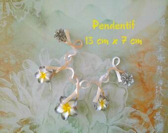 Flowers polymer enamelled Metal pendant