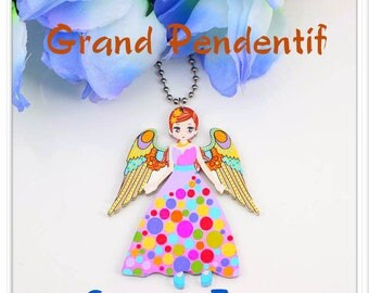 Large pendant Elf acrylic bright multicolor printed front and back