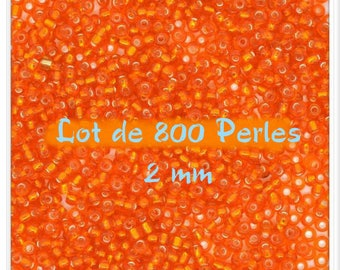 Bag of 10 grams approximately 800 beads of seed beads Orange 2 mm