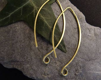 1 pair (2 pieces) long dangle hoop to add a stone or a brushed brass charm