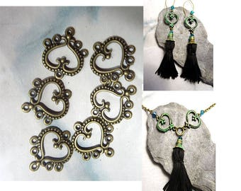 6 PCs connector bronze.coeur jewelry antique ideal necklace earrings