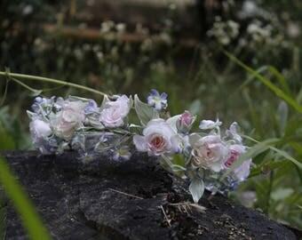 Bridal flower crown, wedding flower crown, pink rose, woodland wedding, rustic flower crown, flower girl crown Bridal hair wreaths Hair vine