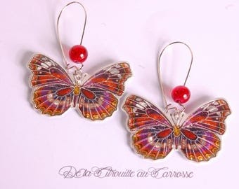 Red and purple butterfly earrings