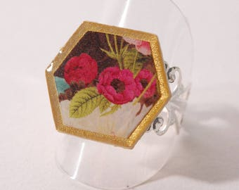 Ring cabochon floral retro, beige, Brown, gold and fuchsia