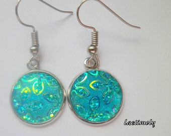 Turquoise glitter cabochon earrings
