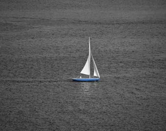 Sailboat on Lake Union, Washington - Printed on Lustre Paper