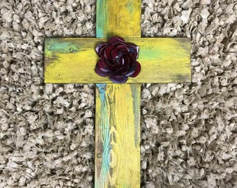Handmade Wooden Rose Cross