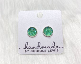 Mint Druzy Stud Earrings