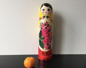 Matryoshka bottle holder. Russian big doll. Russian vodka shtof. Case for a bottle. Vodka case. Wooden case matryoshka. h=33 cm tall