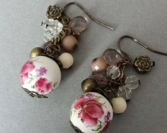 Porcelain bead earrings