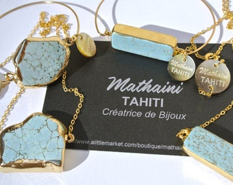 Turquoise stone necklace on gold plated chain