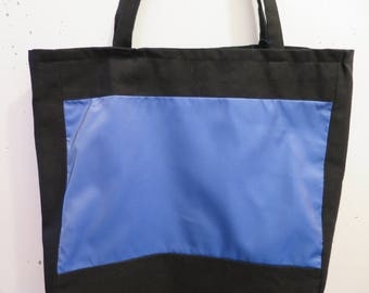 Blue and black cotton tote bag