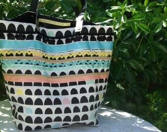 """Tote bag """"Sausalito"""" colorful canvas and ribbons"""