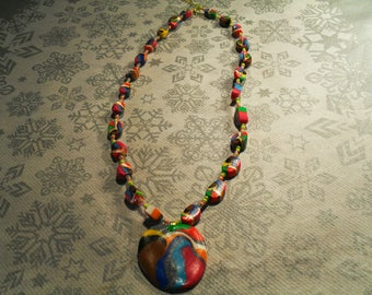 trendy, original, summery pendant necklace (multicolor)
