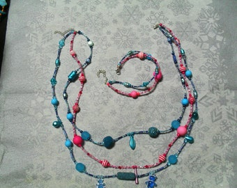 set (necklace and bracelet) warm, (blue and pink)