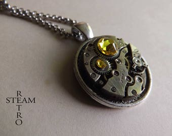 Steampunk necklace - Clockwork suspended and yellow citrine Swarovski crystals - Steampunk jewelry by Steamretro