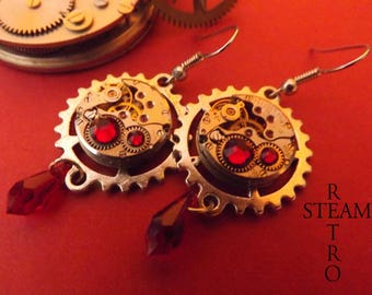 Red Swarovski earrings Retro Steampunk watch movement