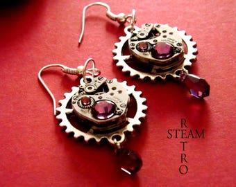 Vintage Steampunk Swarovski Amethyst earrings