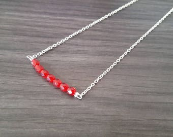 Necklace little faceted Red