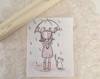 "Small watercolor ""Umbrella Lili"" cozy decoration"