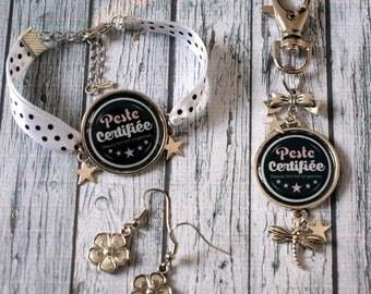Set bracelet earrings jewelry Keychain / bag plague