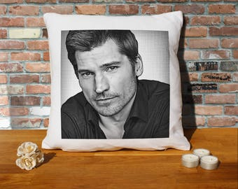 Nikolaj Coster-Waldau Pillow Cushion - 16x16in - White