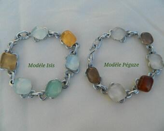 Handmade bracelet, aluminum and glass, pattern choice