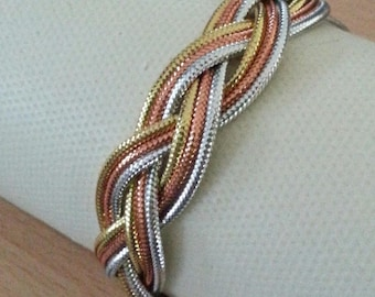 Silver, gold and copper braided fashion bracelet