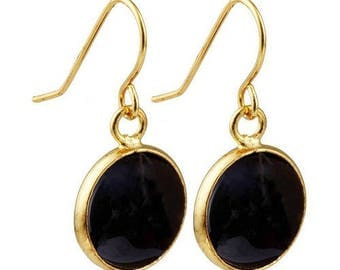 Round dangle earrings plated gold - onyx