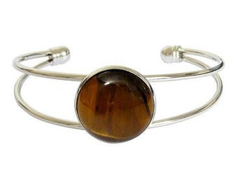 Bracelet silver plated - Tiger eye cabochon