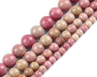 8 x 10 mm rhodonite round bead