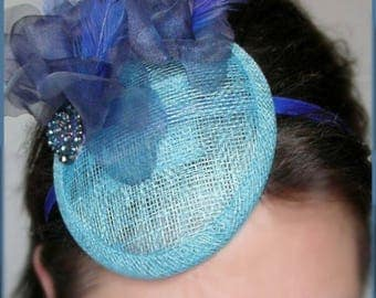 Fascinator / Cocktail hairstyle - Navy Blue, Turquoise - linen, silk and cabochon flower - weddings, ceremonies, Cocktails...