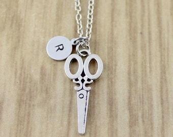 Initial & Scissor Necklace | Silver Scissor Charm Necklace Under 20 Dollars | Hair Stylist Gift | Hairdresser Necklace | CC631-259 | Custom