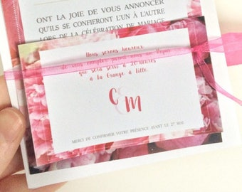 Pink flower romantic meal card