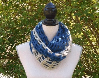 Blue and beige crocheted Snood