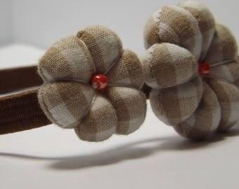 Headband or headband elastic Victoria with Japanese flowers