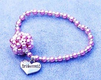 Pink Bridesmaid Bracelet, Wedding Jewellery, Bridesmaid Gift, Gift for Her, Pink Bracelet, Elastic Bracelet, Bridesmaid Bracelet, Wedding