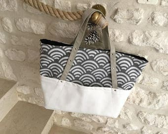Gray Japanese fabric tote bag