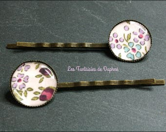 2 liberty fabric flower hair pins