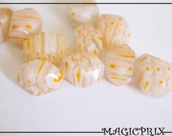 Set of 4 large beads millefiori yellow clear 20 x 12 mm 1008