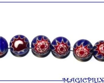 Set of 8 round blue Millefiori beads Ø 10 mm 657