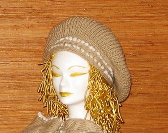 Set of beret and winter scarf for woman and girl in beige acrylic yarn and white keys, hand knitted, birthday gift
