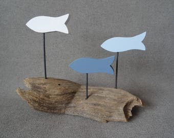 3 white blue grey Driftwood fish decoration